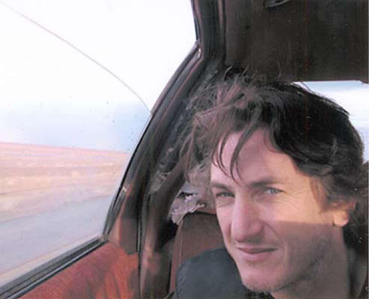American actor Sean Penn on the road to Baghdad. (2003)