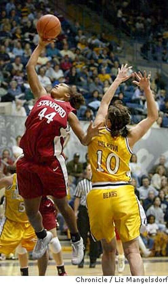 Stanford women's basketball player #44 Azella Perryman goes up for a shot as Cal's #10 Olga Volkova looks on. Stanford and Cal play at Berkeley in Women's basketball.  Liz Mangelsdorf/ The Chronicle Photo: LIZ MANGELSDORF