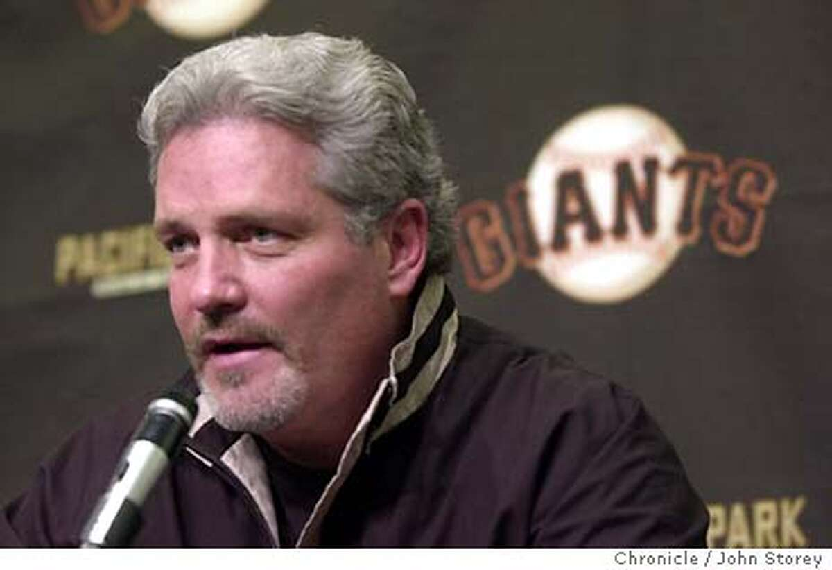 BAKER-06NOV02-SP-JRS-The Giants general manager Brian Sabean talks at a press conference about how they wre unable to reach an agreement with Dusty Baker to continue as the manager of the San Francisco Giants. Chronicle photo by John Storey.