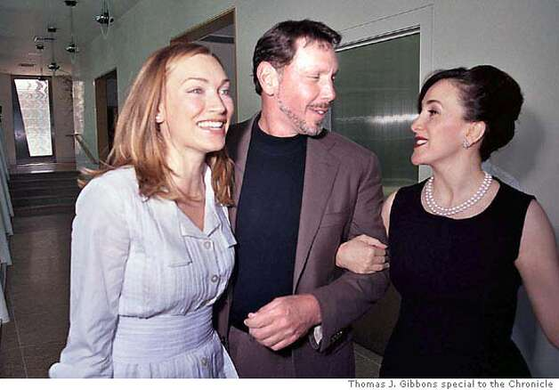 Melanie Craft, fiance Larry Ellison and friend Noosheen Hashemi, who organized the birthday tea party for Craft. Photo by Thomas J. Gibbons/Special to the Chronicle.