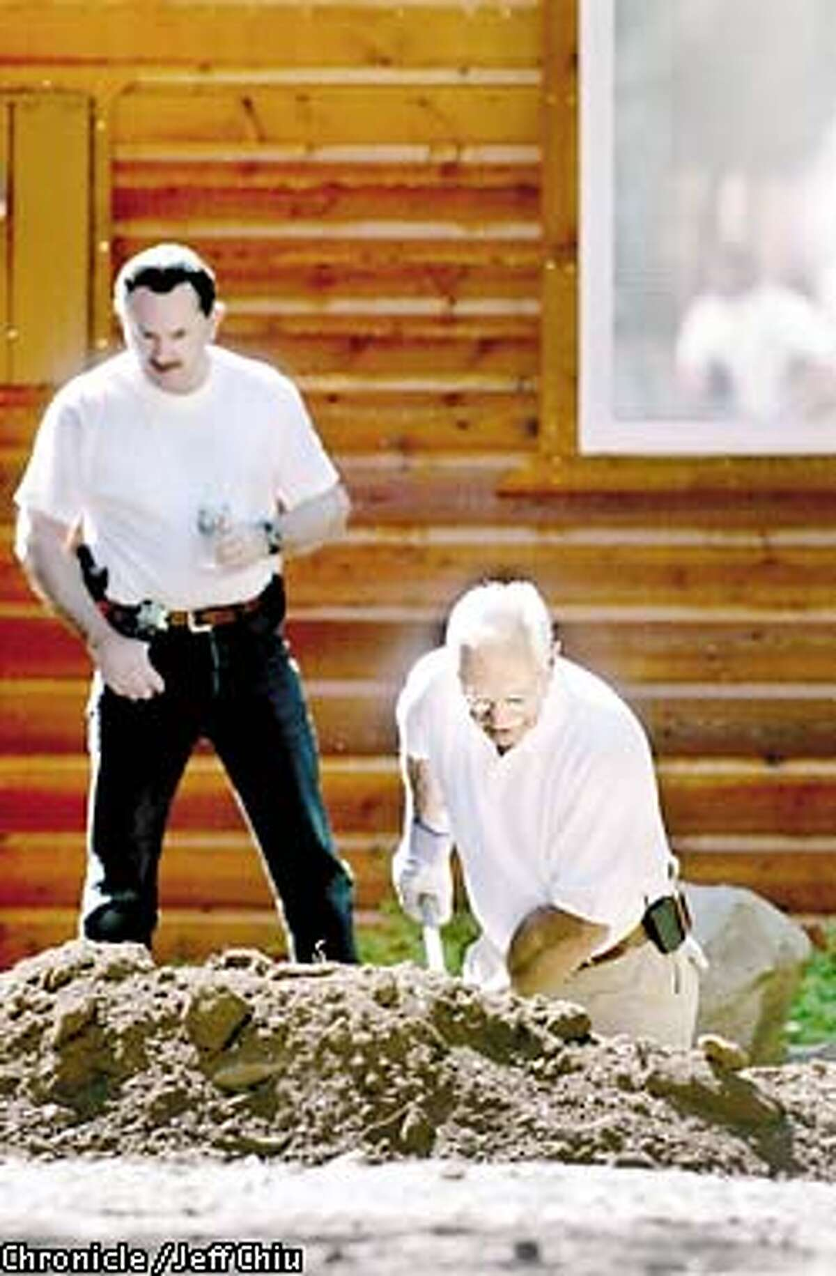Authorities from the Truckee Police, the California Department of Justice, and others continue to dig at the Truckee residence of former Catholic priest Stepen Kiesle of Fremont on Thursday morning. Photo by Jeff Chiu/The Chronicle
