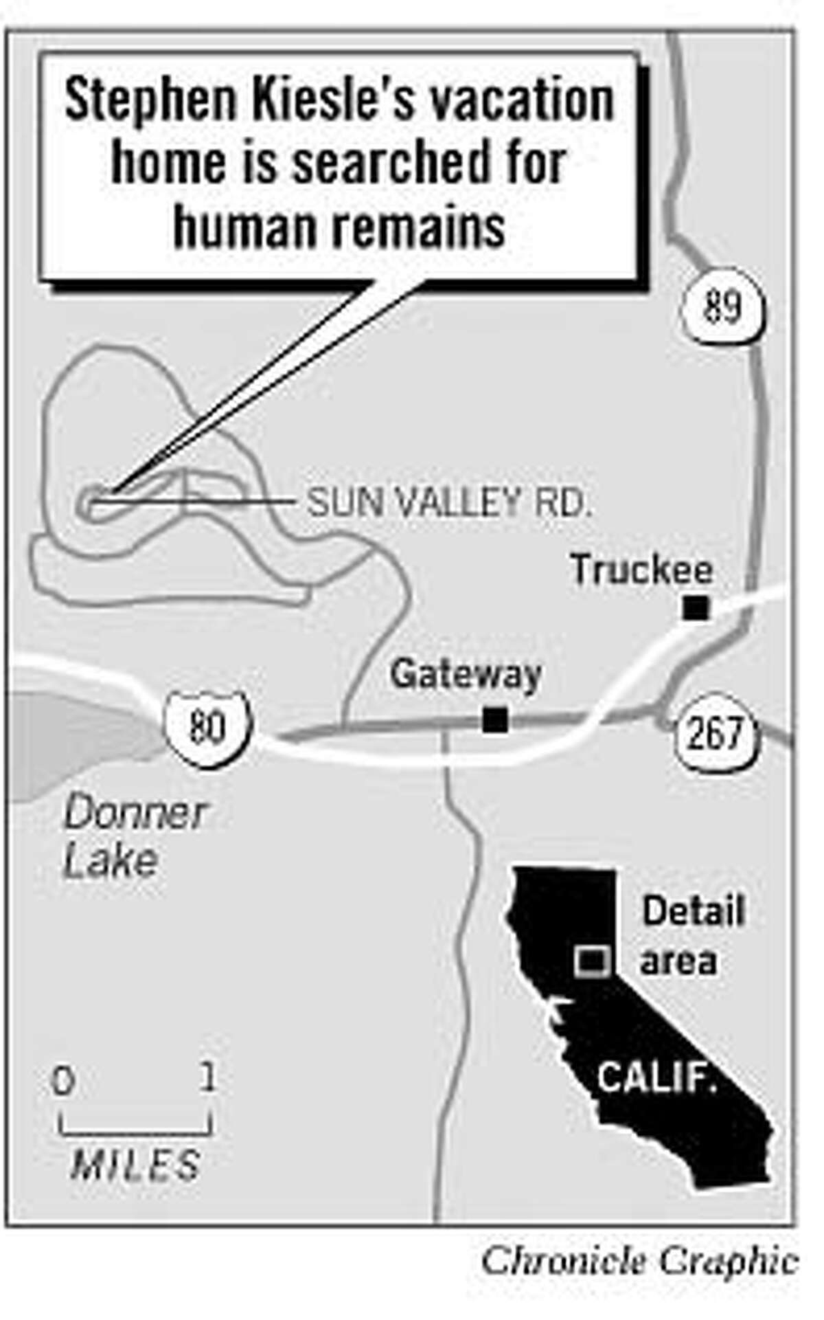 Stephen Kiesle's vacation home is searched for human remains. Chronicle Graphic