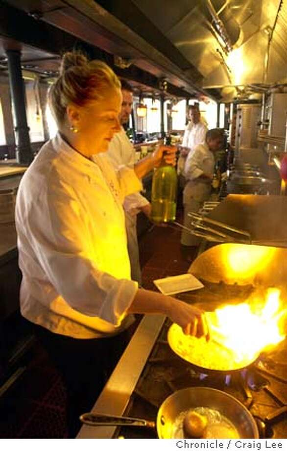 Nancy Oakes, chef/owner of Boulevard restaurant, making her dish, celery root carbonara.  Photo by Craig Lee/San Francisco Chronicle Photo: CRAIG LEE