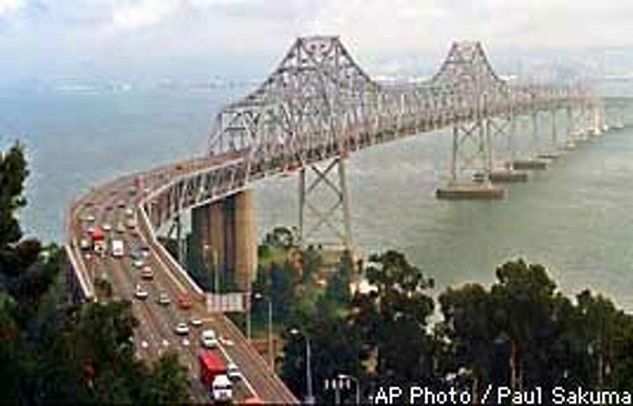 Pictured is the eastern span of westbound traffic of the San Francisco-Oakland Bay Bridge taken from Yerba Buena Island in January, 1996. Residents of nine San Francisco Bay area counties could enact a 10 cent gasoline tax increase for a new Bay Bridge and other highway projects under a bill approved by the California State Assembly Tuesday, May 20, 1997 in Sacramento, Calif. (AP Photo/Paul Sakuma)