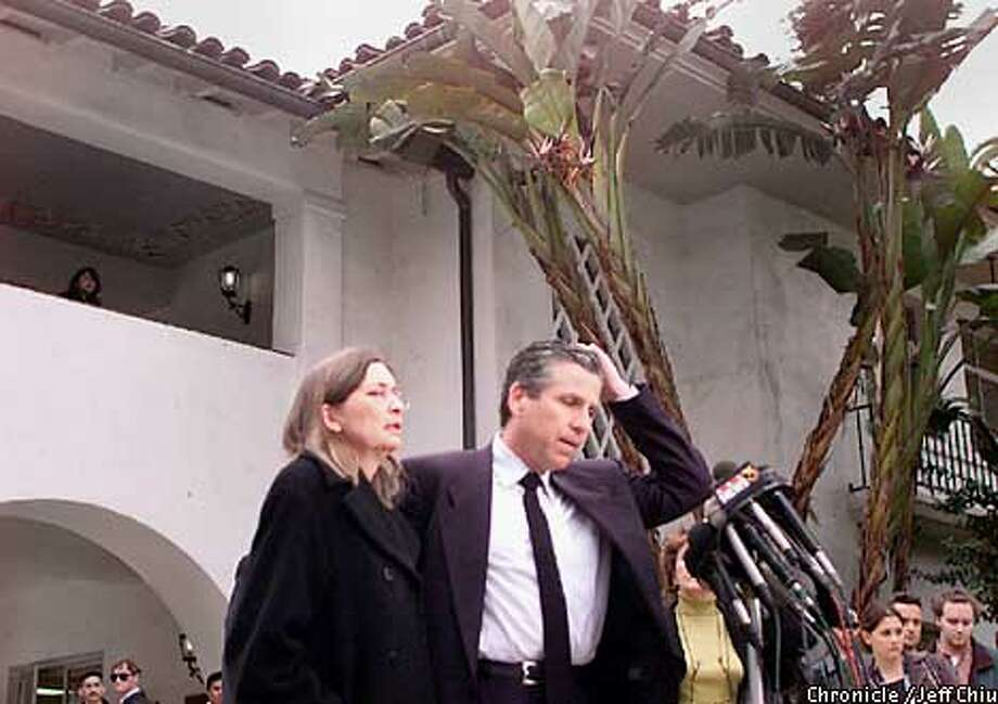 Daniel and Diane Attias make a brief press statement following the arraignment of their son David at the Santa Barbara County Courthouse on Tuesday morning. Photo by Jeff Chiu / The Chronicle. Photo: JEFF CHIU