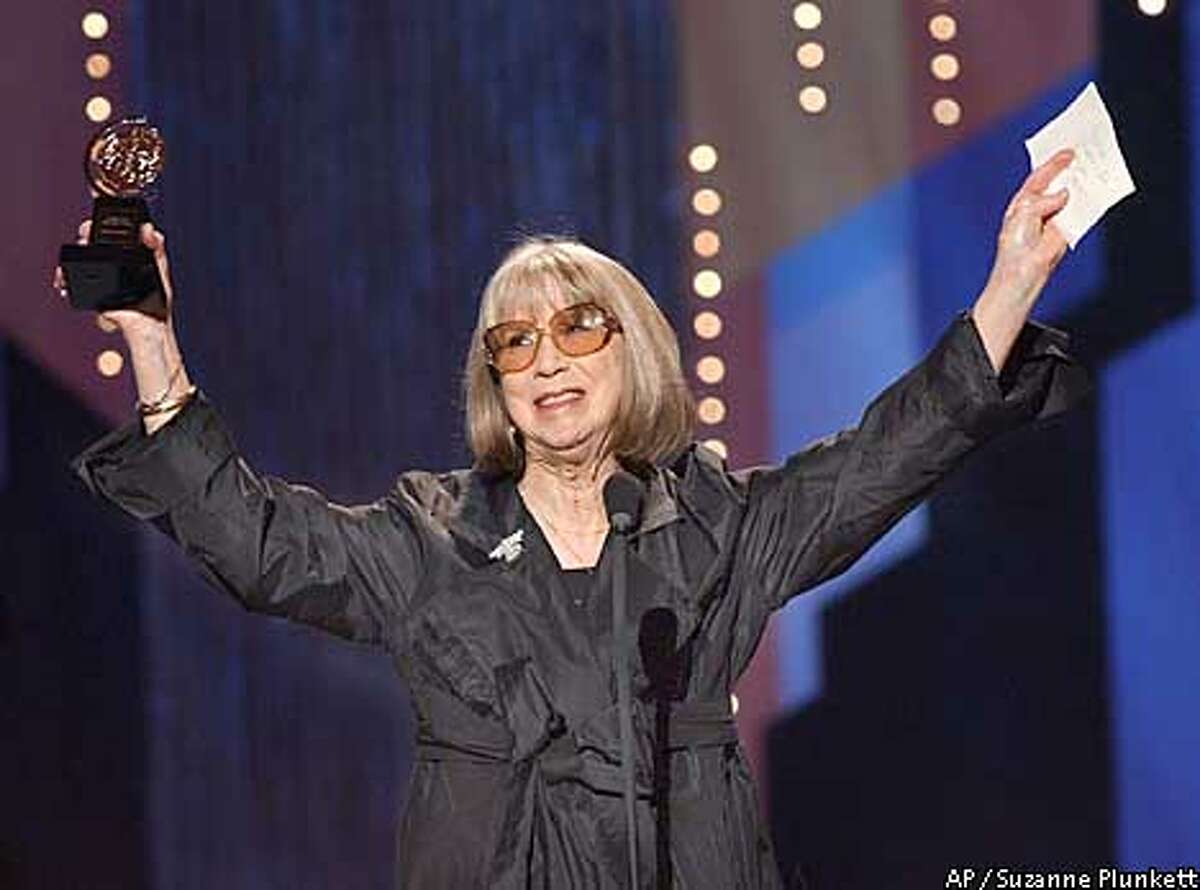 Julie Harris celebrates her special Tony Award for Lifetime Achievement in the Theatre during the 56th annual Sunday, June 2, 2002, at New York's Radio City Music Hall. (AP Photo/Suzanne Plunkett)