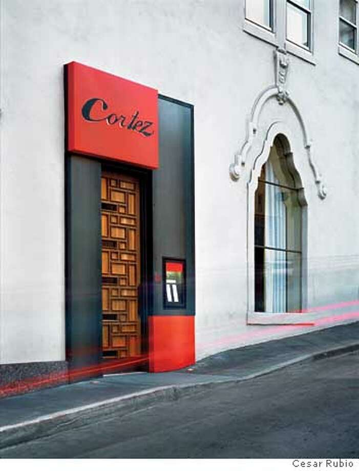 The entrance to Cortez, designed just two weeks before the restaurant opened, is a paneled steel and wood modernist design in contrast with the hotel Adagio's Spanish revival architecture. Photo by Cesar Rubio