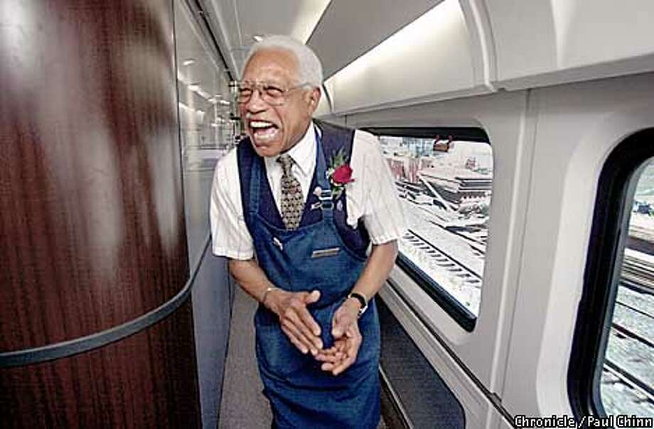 """Retiring Amtrak service attendant Earl Daughtry had plenty of laughs all the way from Oakland to Bakersfield on his final run aboard the """"San Joaquin"""".  PAUL CHINN/S.F. CHRONICLE Photo: PAUL CHINN"""