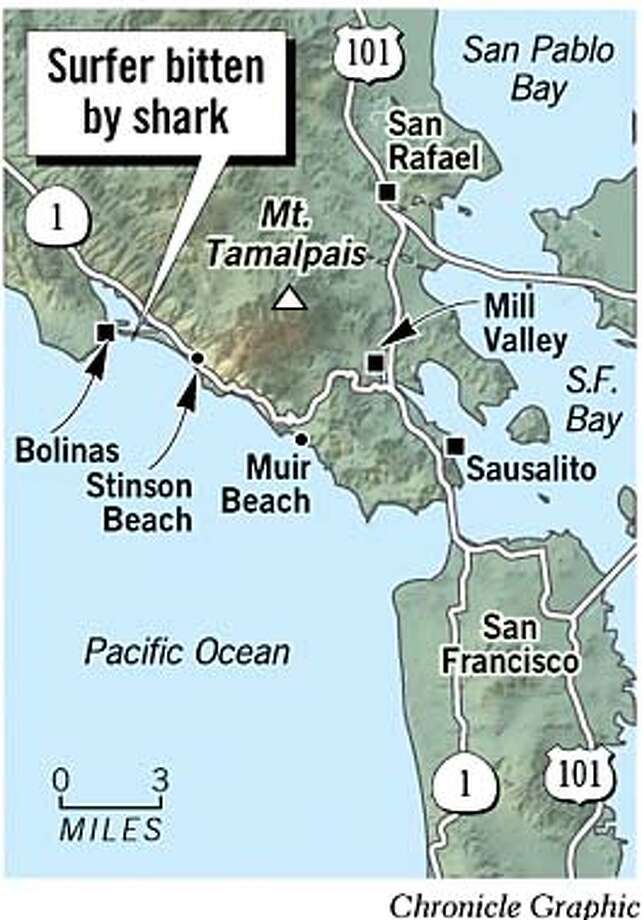 Surfer Bitten by Shark at Stinson Beach. Chronicle Graphic