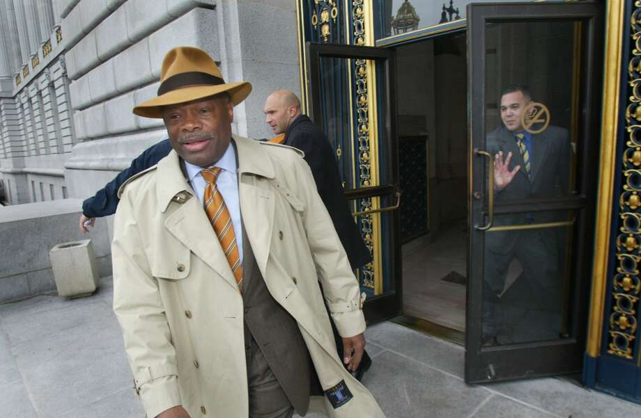 Mayor Willie Brown, in his last full day of being mayor, leaves city hall early afternoon. This is just after his staff surprised him with gifts to honor his 8 years as Mayor of San Francisco. Liz Mangelsdorf/ San Francisco Chronicle Photo: Liz Mangelsdorf
