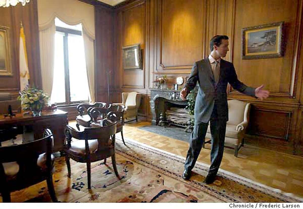 ; S.F Mayor Gavin Newsom after taking the oath of office at S.F City Hall at noon walk into his office of Mayor of San Francisco for the first time. City:� 1/8/04, in San Francisco, CA. City:� . Frederic Larson/The Chronicle;