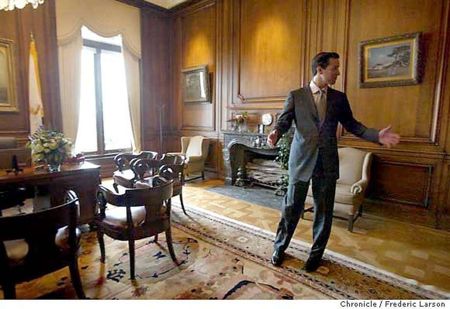 ; S.F Mayor Gavin Newsom after taking the oath of office at S.F City Hall at noon walk into his office of Mayor of San Francisco for the first time. City:� 1/8/04, in San Francisco, CA. City:� .  Frederic Larson/The Chronicle; Photo: Frederic Larson