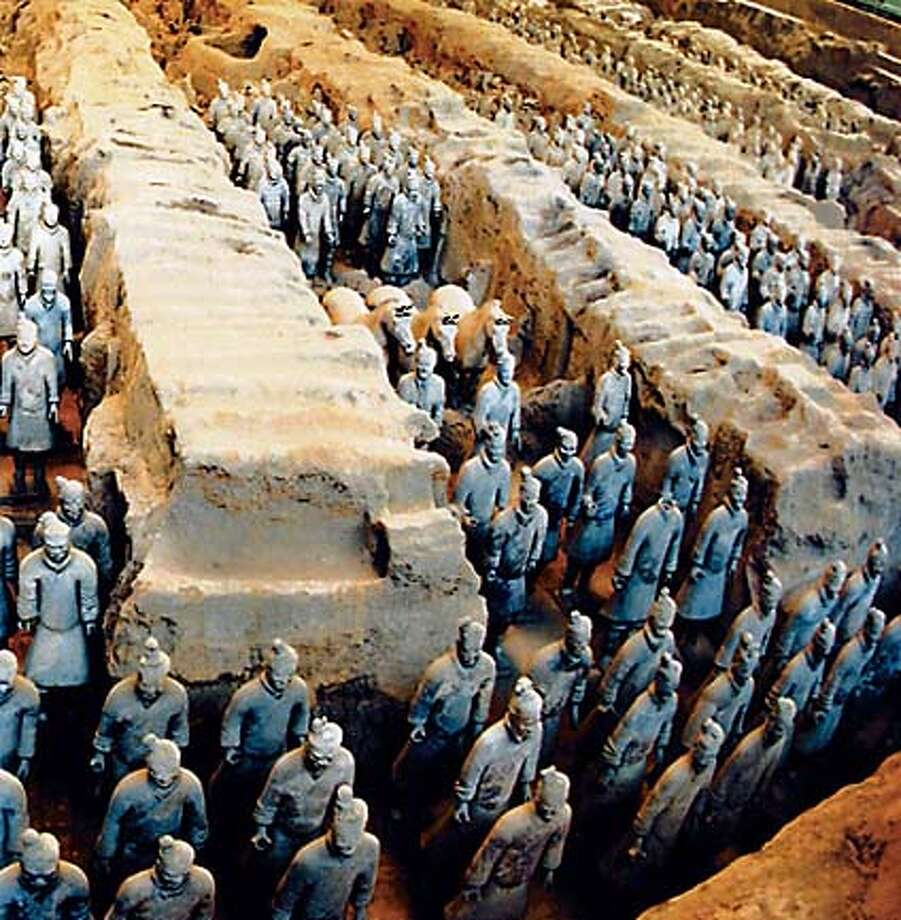 "Archaeologists have unearthed thousands of oversize clay figures of horses and warriors in the tomb of King Qin Shihuang, built in the third century B.C. They believe there are 7,500 in all. From ""The Emporer's Silent Army"""