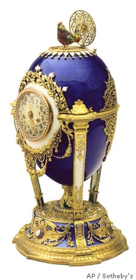 A Faberge Cuckoo Egg ordered by Tsar Nicholas II is shown in an undated photograph released in New York Thursday, Jan. 8, 2004. The Faberge collection owned by the Forbes family, which consists of 12 Faberge eggs and a large collection of other gems, will be auctioned off by Sotheby's in April, the family announced Thursday. (AP Photo/Sotheby's) Photo: HO