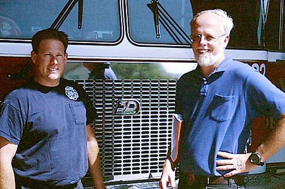 : Tom Hillman with Firefighter Scott Perkins at the Windsor Fire Department. Tom Hillman was one of the three who survived a mountain climb from Oregon Mount Hood which badly went awry when three died as they all fell into a crevasse high up in the mountain. Copy photo from the Windsor Fire Department. Photo: Handout
