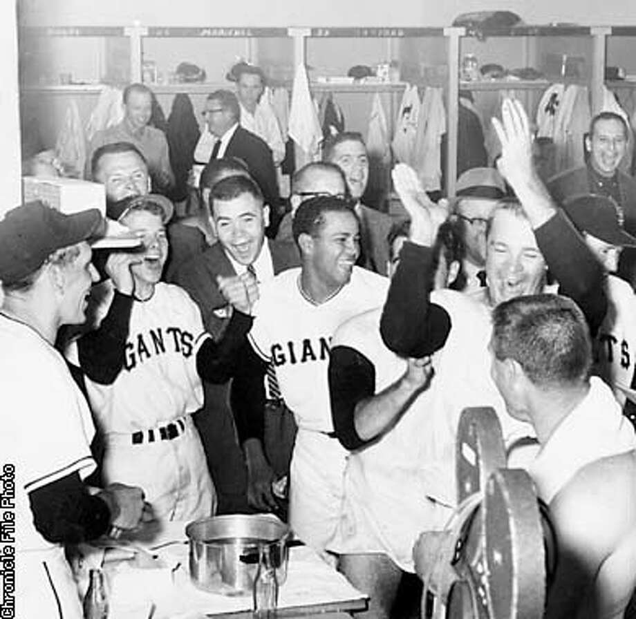 PHOTO BY KEN MCLAUGHLIN, THE CHRONICLE  62 PENNANT RACE, SAN FRANCISCO GIANTS ARE REJOICING OVER TIE FOR PENNANT WIT THE DODGERS Photo: HANDOUT