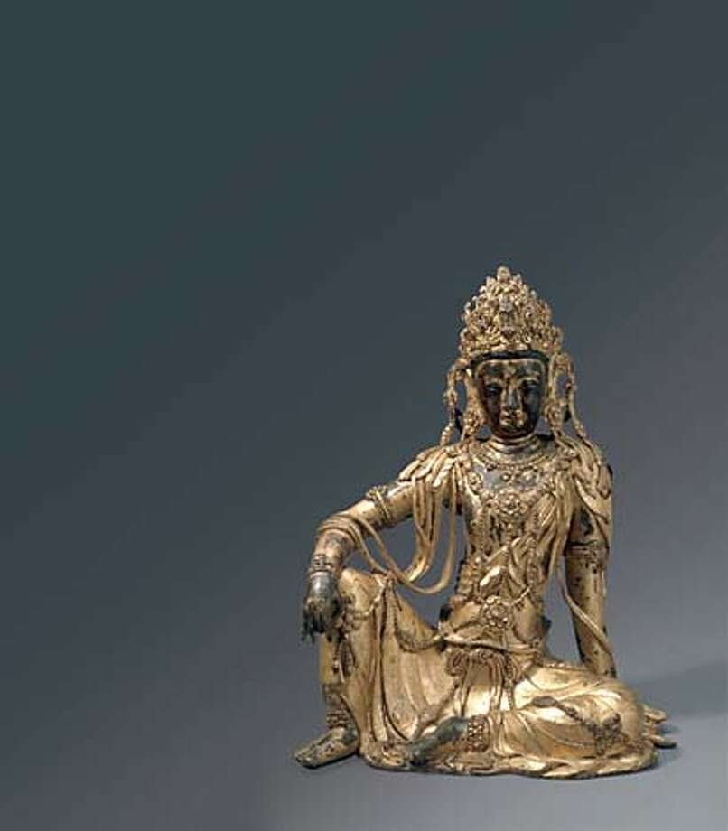 for BUDDHART04; Image AAM Goryeo NMK-14 (page 156 of catalogue):  Seated Avalokiteshvara (Gwaneum Bosal), 1300s, gilt bronze, H: 15 1/8 in. x W: 11 7/8 in., National Museum of Korea, Seoul, NMK-14. From the exhibition Goryeo Dynasty: Korea�s Age of Enlightenment (918 to 1392), at the Asian Art Museum, from October 18, 2003 to January 11, 2004.  PERMISSION IS GRANTED TO REPRODUCE THIS IMAGE SOLELY IN CONNECTION WITH A REVIEW OR EDITORIAL COMMENTARY ON THE ABOVE-SPECIFIED EXHIBITION. ALL OTHER REPRODUCTIONS ARE STRICTLY PROHIBITED WITHOUT THE PRIOR WRITTEN CONSENT OF THE ARTIST AND/OR MUSEUM. COURTESY OF THE NATIONAL MUSEUM OF KOREA, SEOUL..