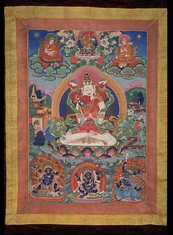 for BUDDHART04; Image AAM Himalaya 3:  The Buddhist deity Sitashamvara, 1800�1900, China; Beijing, Colors on cotton, Gift of Albert Bender, B78D3.  On view at the Asian Art Museum. PERMISSION IS GRANTED TO REPRODUCE THIS IMAGE SOLELY IN CONNECTION WITH A REVIEW OR EDITORIAL COMMENTARY ON THE ABOVE-SPECIFIED EXHIBITION. ALL OTHER REPRODUCTIONS ARE STRICTLY PROHIBITED WITHOUT THE PRIOR WRITTEN CONSENT OF THE MUSEUM. PHOTO BY KAZ TSURUTA.