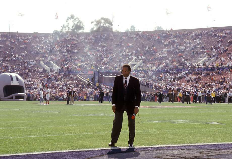 PASADENA, CA - JANUARY 31: NBC Analyst O.J. Simpson stands near the end zone before the start of Super Bowl XXVII with the Buffalo Bills against Dallas Cowboys at the Rose Bowl on January 31, 1993 in Pasadena, California. The Cowboys won 30-27. (Photo by George Rose/Getty Images) Photo: George Rose