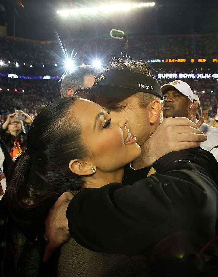 MIAMI GARDENS, FL - FEBRUARY 07: Head coach Sean Payton of the New Orleans Saints hugs TV personality Kim Kardashian after defeating the Indianapolis Colts during Super Bowl XLIV on February 7, 2010 at Sun Life Stadium in Miami Gardens, Florida.  (Photo by Andy Lyons/Getty Images) Photo: Andy Lyons, Getty Images