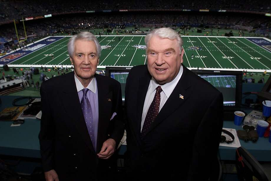 Pat Summerall (left) and John Madden in the broadcast booth together for the last time at Super Bowl XXXVI at the Louisiana Superdome in New Orleans, LA., 2/3/02. Summerall is retiring after 21 years with Madden. Photo by Frank Micelotta/ImageDirect. Photo: Frank Micelotta