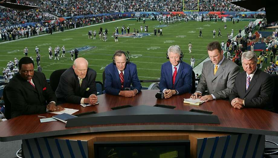 JACKSONVILLE, FL - FEBRUARY 6:  (L-R) FOX Sports Broadcasters James Brown, Terry Bradshaw, Howie Long and Jimmy Johnson with Former U.S. Presidents Bill Clinton (CL) and George Bush (CR) prepare for game in the FOX Broadcast booth during the XXXIX Superbowl at Alltel Stadium on February 6, 2005 in Jacksonville, Florida.  (Photo by Frank Micelotta/Getty Images) Photo: Frank Micelotta