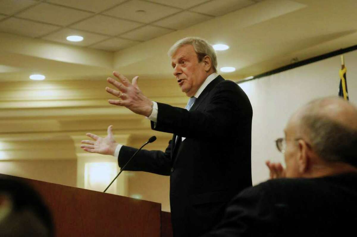 Former political candidate and conservative Herbert London addresses those gathered at the Conservative Party of New York State conference on Sunday, Jan. 29, 2012 at the Holiday Inn in Albany, NY. (Paul Buckowski / Times Union)