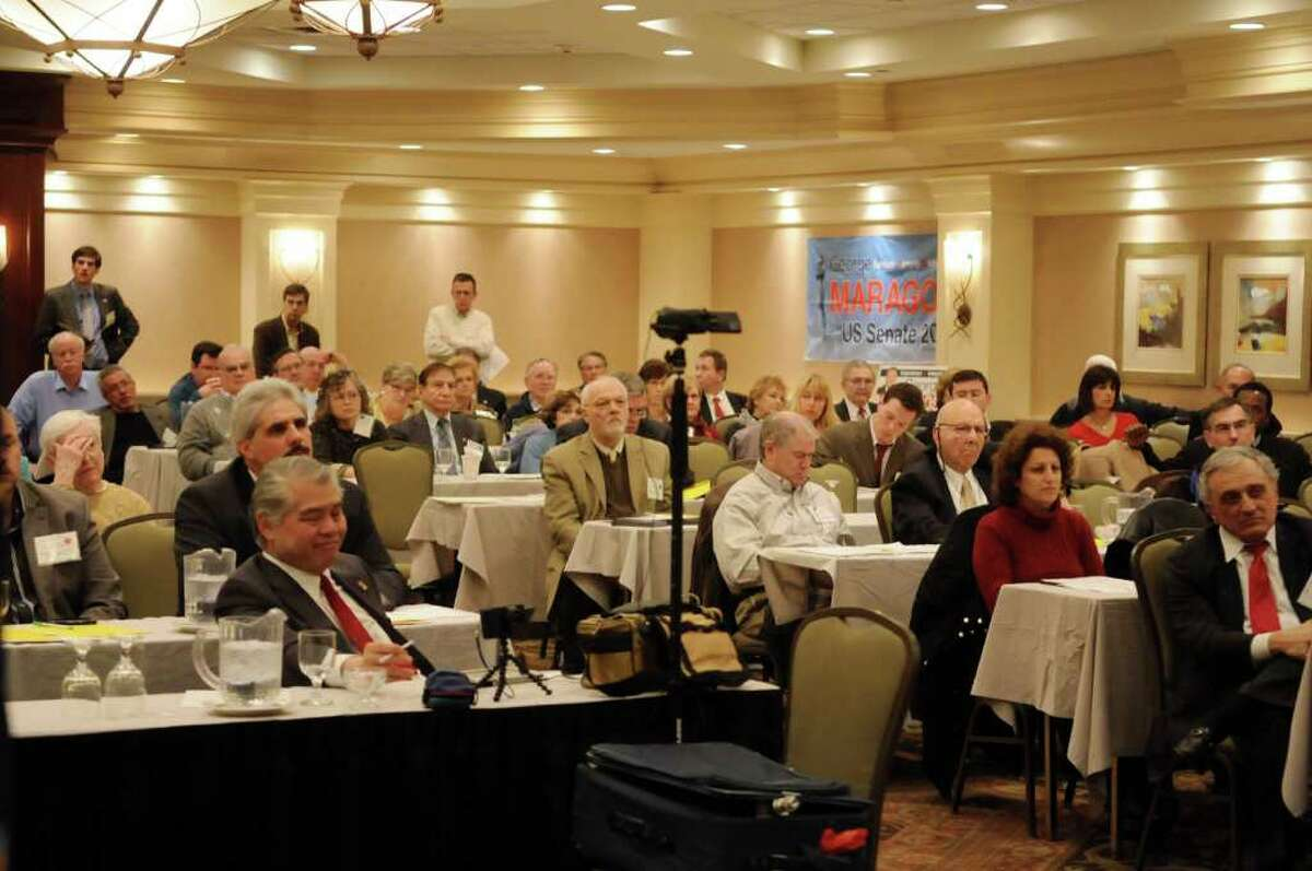 Members of the Conservative Party of New York State listen as former political candidate Herbert London addresses them at their conference on Sunday, Jan. 29, 2012 at the Holiday Inn in Albany, NY. (Paul Buckowski / Times Union)