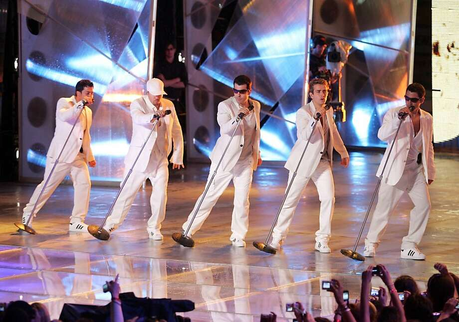 TORONTO, ON - JUNE 15:  (L-R) Danny Wood, Donnie Wahlberg, Jordan Knight, Joey McIntyre, and Jonathan Knight of the New Kids on the Block perform at the 2008 MuchMusic Video Awards held at Much world HQ at the CTV building on June 15, 2008 in Toronto, Canada.  (Photo by Malcolm Taylor/Getty Images) Photo: Malcolm Taylor, Getty Images