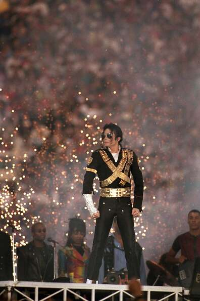 PASADENA, CA - JANUARY 31: Michael Jackson performs during the Halftime show as the Dallas Cowboys t