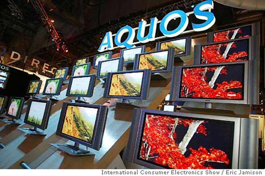 THIS IS A HANDOUT IMAGE. PLEASE VERIFY RIGHTS. CESe-C-10JAN03-BU-HO  A bank of 37 inch LCD flat screen monitors are show on display Friday, Jan. 10, 2003 at the International Consumer Electronics Show. Photo By, Eric Jamison DIGITAL IMAGE Photo: ERIC JAMISON