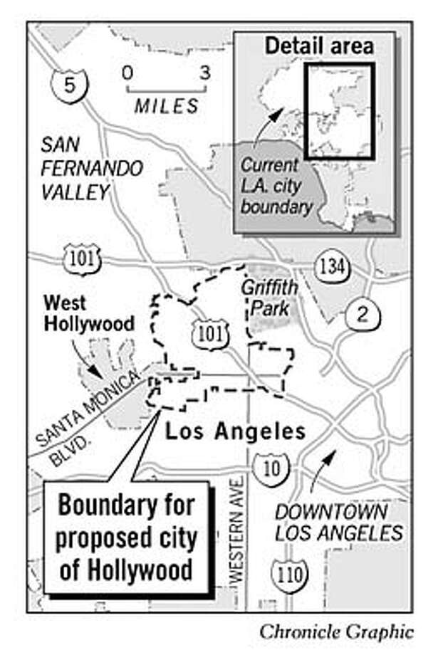 Boundary for Proposed City of Hollywood. Chronicle Graphic