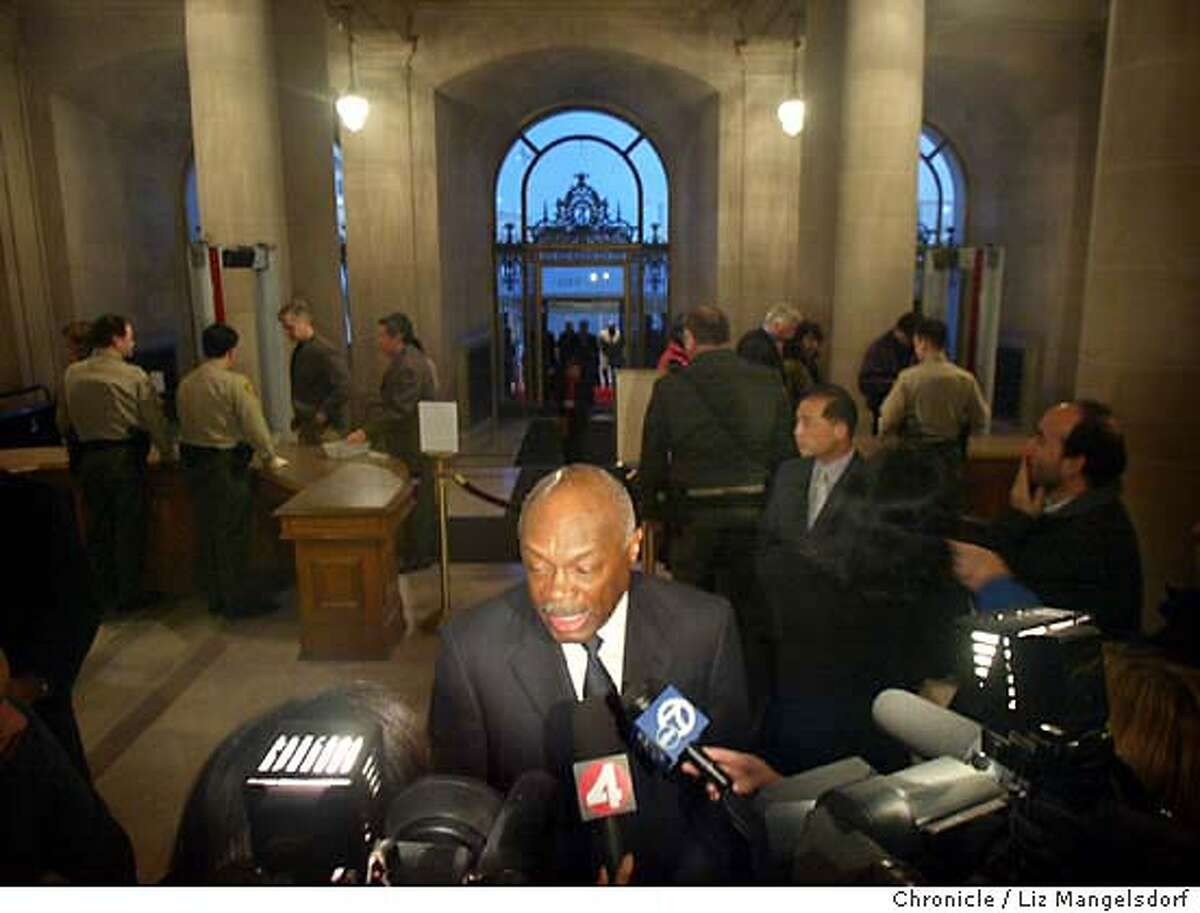 San Francisco Mayor Willie Brown talks with the media before th surprise party for Charlotte Shultz at city hall. Liz Mangelsdorf/ The Chronicle MANDATORY CREDIT FOR PHOTOG AND SF CHRONICLE/ -MAGS OUT