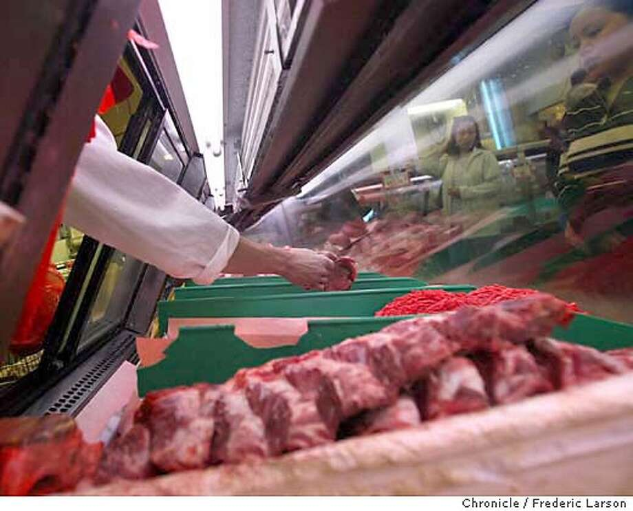 ; Customers are still buying beef at Lion Market in San Jose despite the mad cow disease scare. Reaction to mad cow disease at various ethnic restaurants and food markets in Santa Clara county have been identified as places where tainted meat was sold. � Mad Cow Disease, is a chronic progressive degenerative disease affecting the central nervous system of cattle. There is no treatment, and affected cattle die. BSE was first officially recognized in the United Kingdom (UK) in November 1986. Epidemiologic data suggest that BSE in Great Britain is a common-source epidemic involving animal feed containing BSE- or scrapie-contaminated meat and bone meal as a protein source. Changes in rendering practices in the early 1980's may have potentiated the agent's survival in meat and bone meal  City:� 1/3/04, in San Jose, CA. City:� .  Frederic Larson/The Chronicle; Photo: Frederic Larson