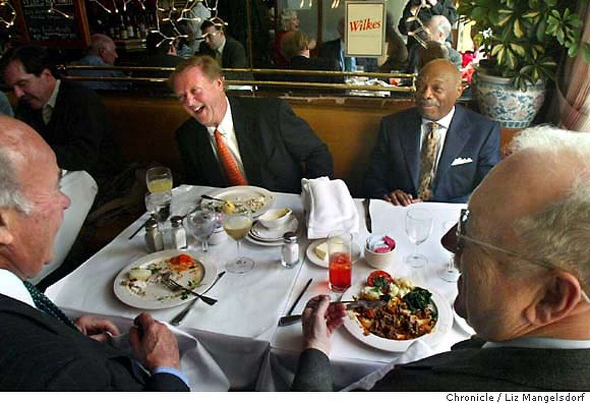 San Francisco Mayor Willie Brown during his regular friday lunch with Wilkes Bashford (front right, side profile) and Harry de Wildt (cq) (left, laughing next to Brown) at Le Central bistro. (Id's to come) on Friday Dec. 5th. Liz Mangelsdorf/ The Chronicle The one and only Willie Brown makes a point during a keynote speech at the Olympic Club in San Francisco. The outgoing San Francisco mayor changed San Francisco's look more than any other recent mayor during the building boom of the go-go '90s and achieved his campaign goal to get Muni back on track.