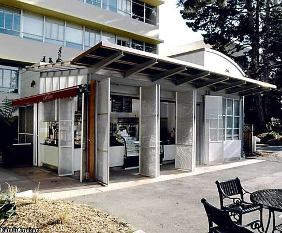 Cafe Rosso is a small free-standing copper- and aluminum-clad building designed by Charles Kahn for the San Francisco State University campus on 19th Avenue. Photo by Ken Gutmaker