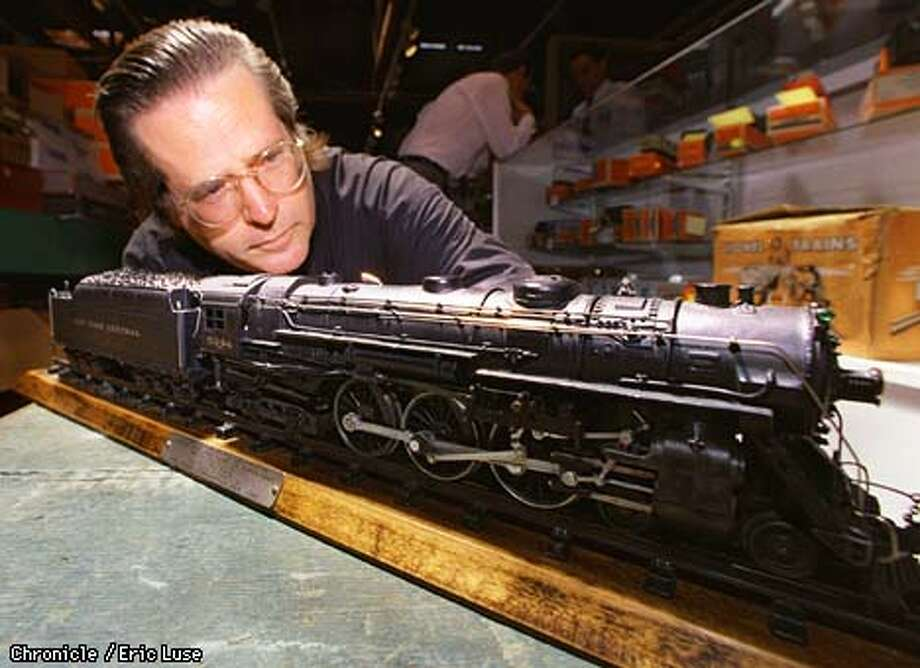 Bob Regan, Director of Trains for Butterfiled & Butterfield with a 1938 Lionel 700E Hudson Locomotive and Tender expected to sell for $4-5,000. Photo by Eric Luse Photo: Eric Luse