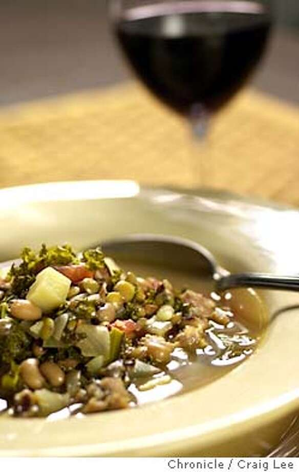 Kale, Black-Eyed Pea and Lentil Soup to go with Napa Valley Merlot. Food photo styled by Noel Advincula.  Event on 12/23/03 in San Francisco.  CRAIG LEE / The Chronicle Photo: CRAIG LEE