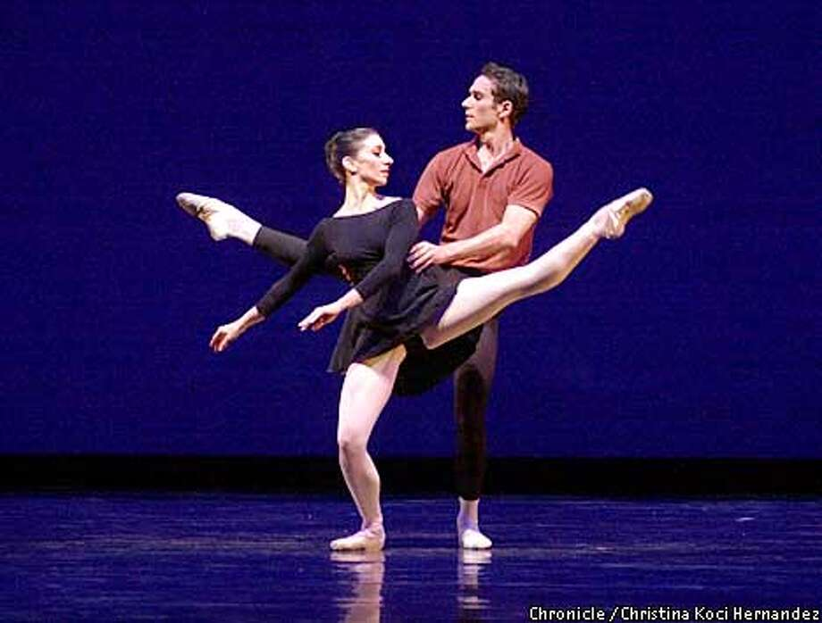 "SFBALLET25b-C-23FEB01-D-CH  CHRISTINA KOCI HERNANDEZ/CHRONICLE  World premier of Mark Morris ballet, danced at the War memorial Opera Building in SF, the ""Garden."" Here, Joanna Berman and Damian Smith dance at the dress rehearsal. Photo: CHRISTINA KOCI HERNANDEZ"