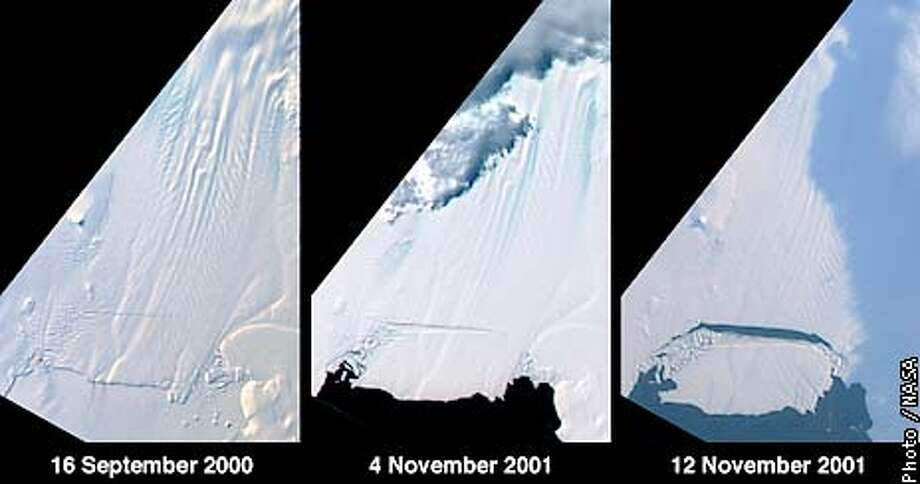 PHOTO CREDIT: NASA This image sequence shows the break-off of a large tabular iceberg from the Pine Island Glacier in West Antarctica. This event occurred sometime between November 4th and 12th, 2001, and provides powerful evidence of rapid changes underway in this area of Antarctica. The three images were acquired by the vertical-viewing (nadir) camera of the Multi-angle Imaging SpectroRadiometer instrument aboard NASA�s Terra spacecraft. The dimensions of the iceberg are approximately 42 kilometers by 17 kilometers (26 miles by 11 miles). Pine Island Glacier is the largest discharger of ice in Antarctica and the continent�s fastest moving glacier. It is located in an area of the West Antarctic ice sheet that is believed to be the most susceptible to collapse, making the evolution of this glacier of great interest to the scientific community.