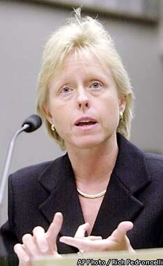 Susan Kennedy, Deputy Chief of Staff and Cabinet Secretary to Gov. Gray Davis, testifies during a hearing of the Joint Legislative Audit Committee at the Capitol in Sacramento, Calif., Tuesday, May 21, 2002. Kennedy testified that she did not discuss the Oracle Corp., software contract with the governor. The committee is investigating the $95 million contract that state auditors say could cost the state as much as $41 million more then its previous arrangements. (AP Photo/Rich Pedroncelli) Photo: RICH PEDRONCELLI