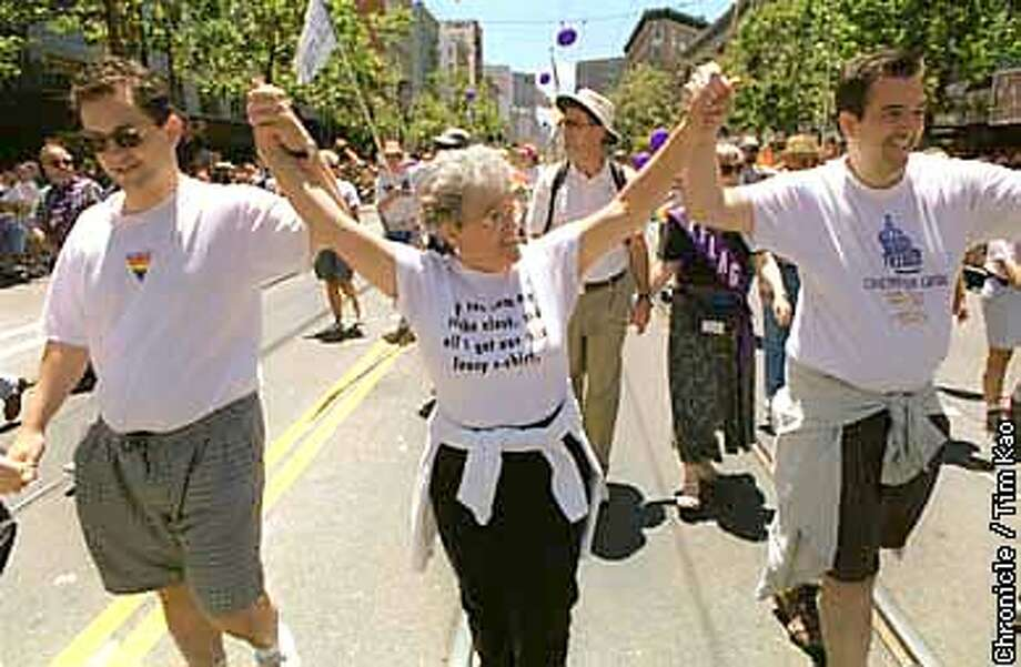 =Denise Reynolds came out in support of her son Rick (r) and his boyfriend Jason Domeniconi at the Gay Pride Parade Sunday afternoon. photo by Tim kao/the chronicle Photo: TIM KAO