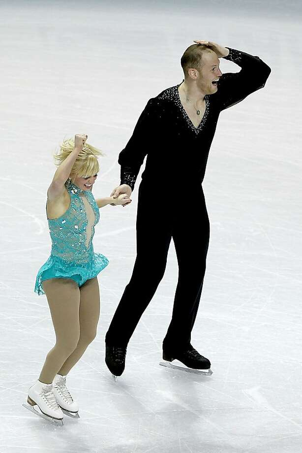 Caydee Denney and John Coughlin celebrate at the end of the Pairs Free Skate during the 2012 Prudential U.S. Figure Skating Championships at the HP Pavilion on January 29, 2012 in San Jose, California. Denney and Coughlin won the Pairs competition. Photo: Matthew Stockman, Getty Images