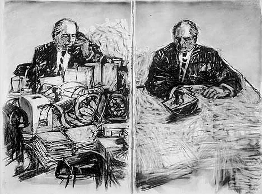 SOHO ECKSTEIN AT DESK ON TELEPHONE  by William Kentridge, 1999  Drawing for the film STEREOSCOPE  Charcoal and pastel on paper