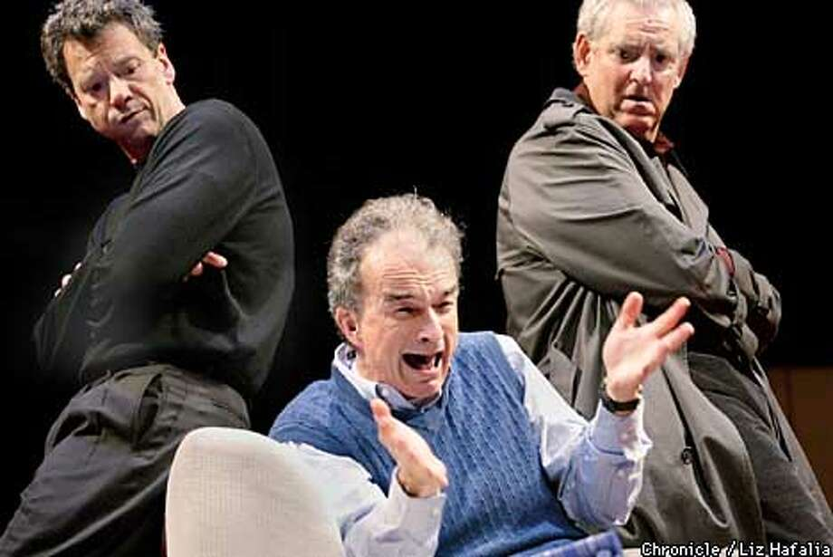 """""""Art"""" by Yasmina Reza playing at San Jose Repertory Theatre. left to right--Michael Butler playing Serge, David Pichette playing Yvan, Peter Van Norden playing Marc.  (PHOTOGRAPHED BY LIZ HAFALIA/THE SAN FRANCISCO CHRONICLE) Photo: LIZ HAFALIA"""