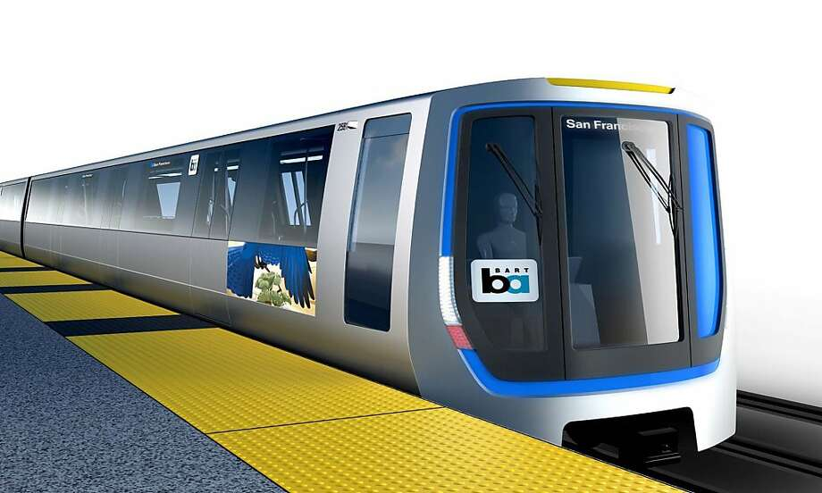 An artist's rendering depicts planned new BART rail cars, each costing more than $5 million. Photo: Khughe, Bay Area Rapid Transit