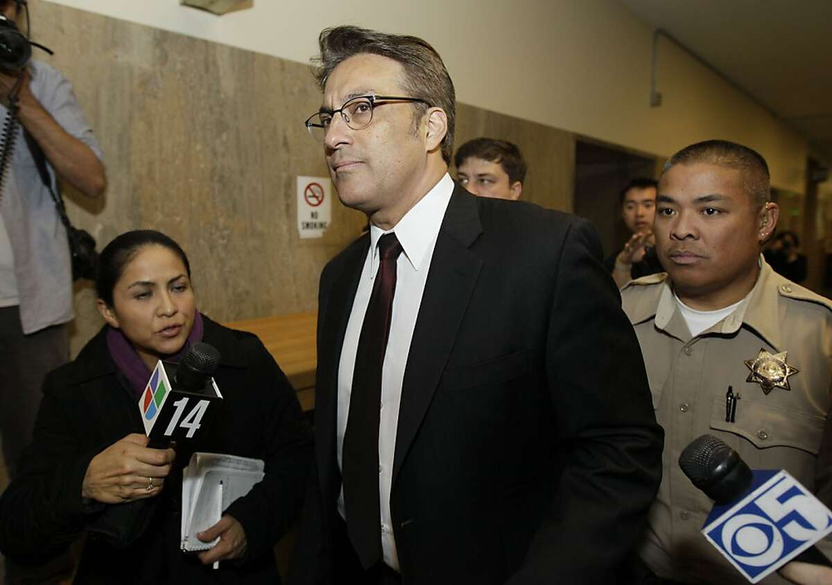 San Francisco Sheriff Ross Mirkarimi makes his way to a hearing in Superior Court in San Francisco, Thursday, Jan. 26, 2012. San Francisco's newly elected sheriff appeared in court this for a hearing that could decide whether he can see his family again after being charged with domesticviolence and other misdemeanors. Mirkarimi is scheduled to go to trial on Feb. 24 on charges that he bruised the right arm of his wife, former Venezuelan telenovela star Eliana Lopez, during a New Year's Eve incident at the couple's home. (AP Photo/Eric Risberg)