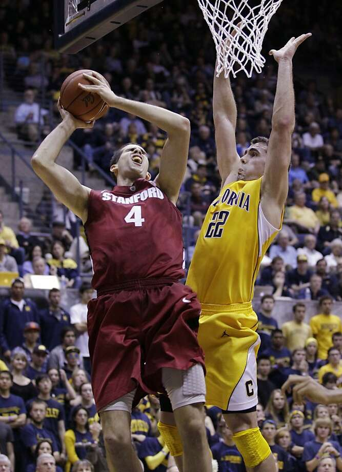 Stanford center Stefan Nastic (4) shoots in front of California forward Harper Kamp (22) in the first half of an NCAA college basketball game in Berkeley, Calif., Sunday, Jan. 29, 2012. (AP Photo/Paul Sakuma) Photo: Paul Sakuma, Associated Press