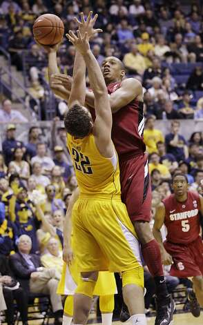 Stanford forward Josh Owens shoots in front of California forward Harper Kamp (22) in the first half of an NCAA college basketball game in Berkeley, Calif., Sunday, Jan. 29, 2012. (AP Photo/Paul Sakuma) Photo: Paul Sakuma, Associated Press