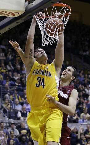 California forward Robert Thurman (34) dunks in front of Stanford center Stefan Nastic during the second half of an NCAA college basketball game in Berkeley, Calif., Sunday, Jan. 29, 2012. California defeated Stanford 69-59. (AP Photo/Paul Sakuma) Photo: Paul Sakuma, Associated Press